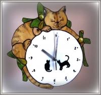 """Часы витражные """"Сплячий кот"""""""